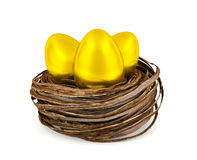Golden eggs in nest Stock Photos