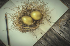 Golden eggs in the nest, notebook, pencil Stock Images