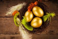 Golden eggs in the nest Stock Photos