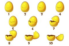 Golden Eggs, 10 Steps animations egg . Vector Easter symbol. Normal, damaged and broken. Objects on a separate layer royalty free illustration