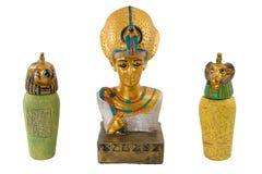 Golden egypt pharaoh and his bodyguards stock photo