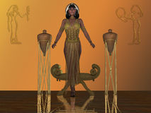 Golden Egyptian Princess. An Egyptian princess arises from a chair in a temple dressed in traditional gown and headdress from that era royalty free illustration