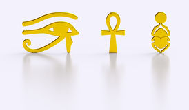 Golden Egyptian symbols gloss reflections. Isolated gold Egypt icons: Eye of Horus, Ankh and Scarab beetle with sun disc. 3D Egyptian symbols Stock Photos