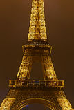 Golden Eiffel tower detail in Paris at night Stock Photography