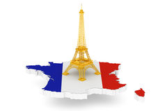 Golden Eiffel Tower over France Map. On a white background Stock Photography