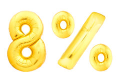 Golden eight percent made of inflatable balloons Stock Photo