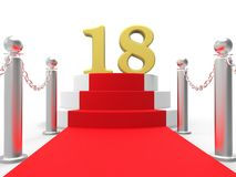 Golden Eighteen On Red Carpet Means Celebrity. Golden Eighteen On Red Carpet Meaning Celebrity Eighteenth Birthday Party Stock Photography