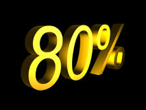 Golden eighty percent on black background 3d render. Sales financial concept royalty free illustration