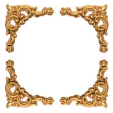 Golden elements of carved baroque frame isolated on white Royalty Free Stock Photos