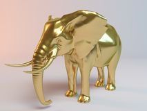 Golden Elephant. Golden 3D animal (elephant) inside a stage with high render quality to be used as a logo, medal, symbol, shape, emblem, icon, business Royalty Free Stock Photos