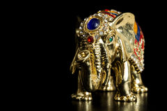 Golden elephant jewelry box Royalty Free Stock Image