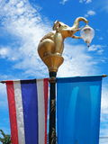 Golden elephant lamp post Stock Image
