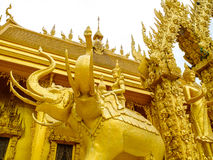 Golden elephant statues Stock Photography