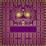 Golden elephant violet background seamless Stock Photo