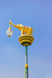 Golden elephants on street lamp, lamp hanger, Thailand Stock Photos