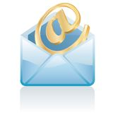 Golden email Stock Photos