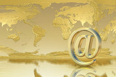 Golden Email. Global connection success concept Royalty Free Stock Photography