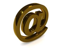 Golden email symbol Stock Photography