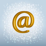 Golden email symbol over noisy backgroun Stock Photos