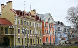 Golden Embankment -residential area in historical place in Pskov Royalty Free Stock Photos