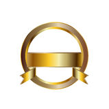 Golden emblem circle shaped isolated Royalty Free Stock Image