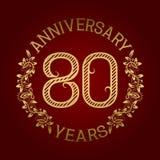Golden emblem of eightieth anniversary. Celebration patterned sign on red.  Stock Illustration