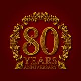 Golden emblem of eightieth years anniversary. Celebration patterned logotype with shadow on red.  vector illustration