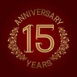 Golden emblem of fifteenth anniversary. Celebration patterned sign on red.  Royalty Free Illustration