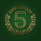 Golden emblem of fifth anniversary. Celebration patterned logotype. With shadow on green vector illustration