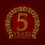 Golden emblem of fifth years anniversary. Celebration patterned logotype with shadow on red.  Stock Photos