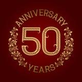Golden emblem of fiftieth anniversary. Celebration patterned sign on red.  Stock Illustration