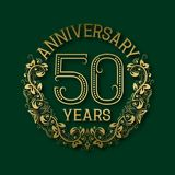 Golden emblem of fiftieth years anniversary. Celebration patterned logotype. With shadow on green vector illustration