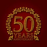 Golden emblem of fiftieth years anniversary. Celebration patterned logotype with shadow on red.  Royalty Free Stock Image