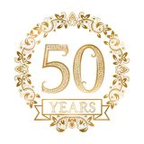 Golden emblem of fiftieth years anniversary in vintage style vector illustration