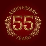 Golden emblem of fifty fifth anniversary. Celebration patterned sign on red.  Royalty Free Illustration