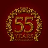 Golden emblem of fifty fifth years anniversary. Celebration patterned logotype with shadow on red.  Royalty Free Stock Photos