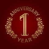 Golden emblem of first anniversary. Celebration patterned sign on red.  Stock Illustration