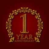 Golden emblem of first year anniversary. Celebration patterned logotype with shadow on red.  Stock Photo