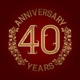 Golden emblem of fortieth anniversary. Celebration patterned sign on red.  Vector Illustration