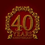 Golden emblem of fortieth years anniversary. Celebration patterned logotype with shadow on red.  stock illustration