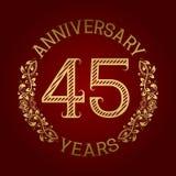 Golden emblem of forty fifth anniversary. Celebration patterned sign on red.  Vector Illustration