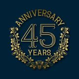 Golden emblem of forty fifth years anniversary. Celebration patterned logotype. With shadow on blue royalty free illustration