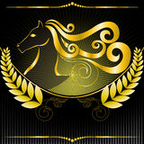 Golden emblem with a horse Royalty Free Stock Photography