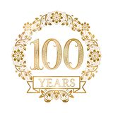 Golden emblem of hundredth years anniversary in vintage style.  Royalty Free Illustration