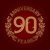 Golden emblem of ninetieth anniversary. Celebration patterned sign on red.  Royalty Free Illustration