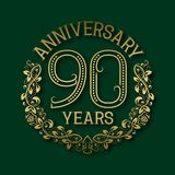 Golden emblem of ninetieth years anniversary. Celebration patterned logotype. With shadow on green vector illustration