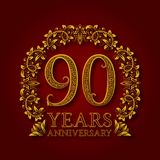 Golden emblem of ninetieth years anniversary. Celebration patterned logotype with shadow on red.  stock illustration