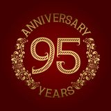 Golden emblem of ninety fifth anniversary. Celebration patterned sign on red.  Stock Illustration