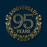 Golden emblem of ninety fifth years anniversary. Celebration patterned logotype. With shadow on blue royalty free illustration