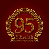 Golden emblem of ninety fifth years anniversary. Celebration patterned logotype with shadow on red.  Royalty Free Stock Photos
